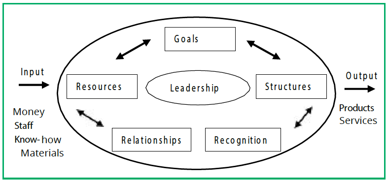 A circle with an arrow point towards it with the words Input, Money, Staff, Know-how and Materials. In the circle are five boxes: goals, structures, recognition, relationships and resources, with a central circle: leadership. There is an arrow outwards with the words Output, Products and Services.